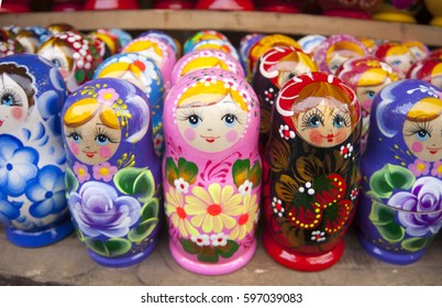 Matryoshkas with miniature painting (nested doll) at the flea market Izmailovo. Moscow, Russia.