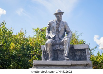 MATSCHUCHY, UKRAINE – JUNY 7th 2019: Monument Russian practitioner of selection to produce new types of crop plants Ivan Michurin (1855 – 1935)