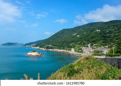 Matsu, Taiwan - JUN 27, 2019: Qinbi Village and Turtle Island at Matsu, Taiwan.