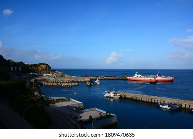 Matsu, Taiwan-7/30/2020: The Taiwan-Matsu Ferry is about to leave the port of Dongyin Island.