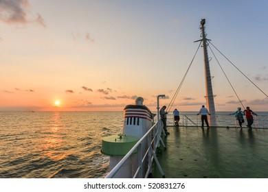 Matsu, Taiwan-September 12, 2015: Sunrise on the Deck of Taima Ferry to Matsu