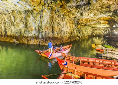 Matsu, Taiwan-September 23, 2018: Beihai Tunnel in Nangan, A Former Military Tunnel, Now Turn into A Tourist Attraction With Canoe Navigating Service