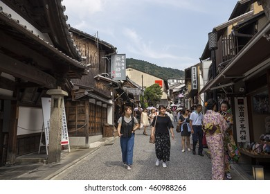 Matsubara-dori, a street around Kiyomizu Temple. Kyoto Japan - 20 Jun 2016: Kiyomizu Temple is part of the Historic Monuments of Ancient Kyoto (Kyoto, Uji and Otsu Cities) UNESCO World Heritage site.