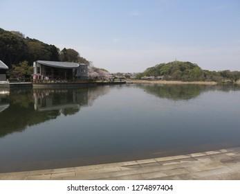 Matsudo City, Chiba / Japan - April 6, 2016 : Forest and Park for the 21st Century (Sendabori Pond)
