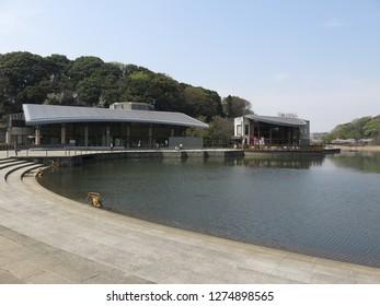 Matsudo City, Chiba / Japan - April 6, 2016 : Forest and Park for the 21st Century (Sendabori Pond/Park Center/Cafe)