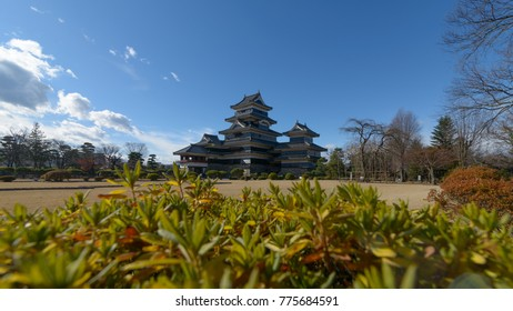 Matsumoto castle with a beautiful foreground in Matsumoto, Nagano, Japan.