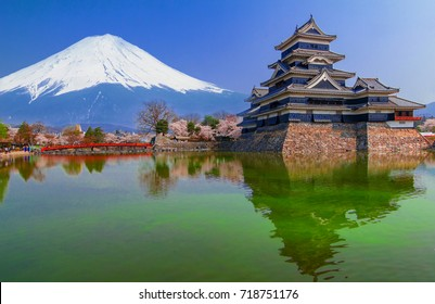 Matsumoto Castle with fuji mountain background, One of Japan's premier historic castles