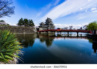 Matsumoto castle in Japan,black castle and blue sky,castle reflection