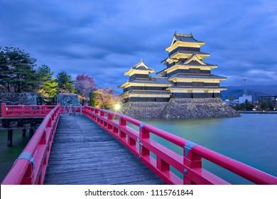 Matsumoto Castle at night in Nagano perfecture, Japan.
