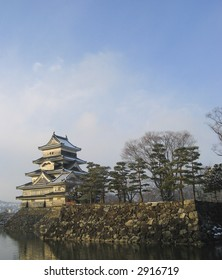 Matsumoto castle on a winter day, located in Nanago, Japan