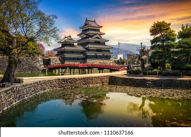 Matsumoto Castle with reflection on the lake at sunrise, Matsumoto, Nagano Prefecture, Japan