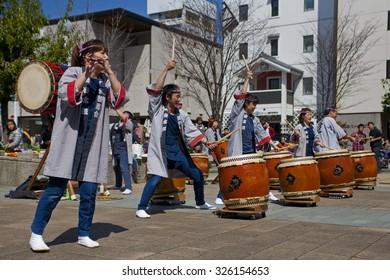 MATSUMOTO, JAPAN - APRIL 13, 2013: Taiko drummers perform at the festival sake in Matsumoto April 13, 2013.