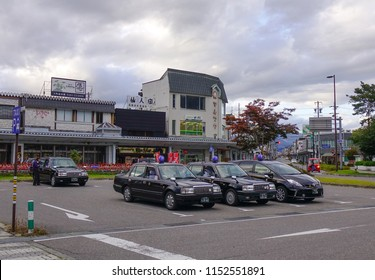 Matsumoto, Japan - Oct 4, 2017. Taxi stand at downtown in Matsumoto, Japan. Matsumoto is a city located in central Nagano Prefecture in the Chubu region.