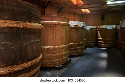 Matsumoto, Nagano Prefecture, Japan, 28th August 2017: Traditional miso barrel at Soybean paste factory