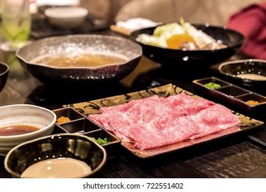 matsusaka beef A5 Wagyu Beef Shabu shabu Set with steam, Groumet Japanese hot pot cuisine