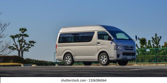 Matsusaka, Japan - Mar 18, 2018. A tourist van waiting for passengers near Ise Bay at summer day in Matsusaka, Japan.