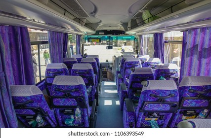 Matsusaka, Japan - Mar 18, 2018. Interior of the long-distance bus for tourist at summer day in Matsusaka, Japan.