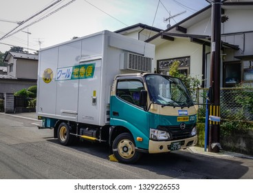 Matsushima, Japan - Sep 27, 2017. Small truck of Black Cat transport service on the rural road in Matsushima, Japan.