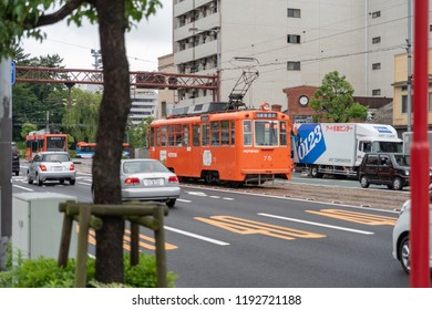 MATSUYAMA,JAPAN - 25 JUNE ,2016: The most convenient way to travel around the city is by tram.A single tram ride costs 160 yen regardless of distance traveled.