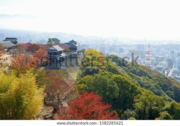 MATSUYAMA/JAPAN-NOV 23,2019: View of Matsuyama city from Matsuyama castle main tower, Ehime prefecture, Japan