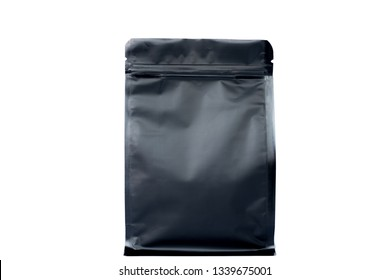 matt black flat bottom pouch with zipper  filled with coffee beans on white background fron view