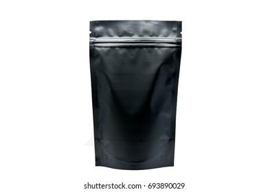 matt black stand up pouch on white background