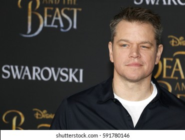 Matt Damon at the Los Angeles premiere of 'Beauty And The Beast' held at the El Capitan Theatre in Hollywood, USA on March 2, 2017.