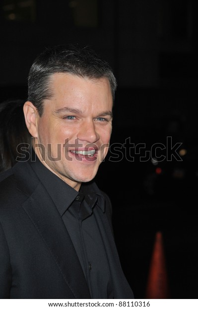 """Matt Damon at the Los Angeles premiere of his new movie """"Invictus"""" at the Academy of Motion Picture Arts & Sciences Theatre. December 3, 2009  Beverly Hills, CA Picture: Paul Smith / Featureflash"""
