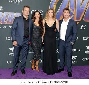 Matt Damon, Luciana Damon, Samantha Hemsworth and Luke Hemsworth at the World premiere of 'Avengers: Endgame' held at the LA Convention Center in Los Angeles, USA on April 22, 2019.