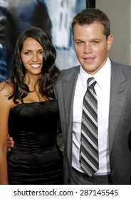 "Matt Damon and wife Luciana Damon attend the Los Angeles Premiere of ""The Bourne Ultimatum"" held at the ArcLight Cinemas in Hollywood, California, on July 25, 2007."