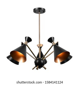 Matte Black with Antique Brass 5 Lights Chandelier Isolated on White Background. Modern Pendant Ceiling Light Fixture Conical Shape. Retro & Vintage Hanging Lights. Pendant Sconce Lighting Lamp