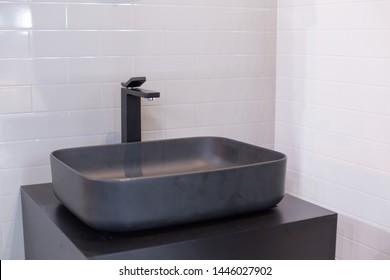 Matte Black Sink in Bathroom
