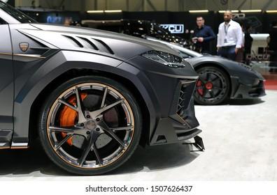 Matte Grey Lamborghini Urus Mansory custom car in Geneva International Motor Show (GIMS), Geneva Switzerland March 2019. Expensive, unique and powerful custom car. Color image.