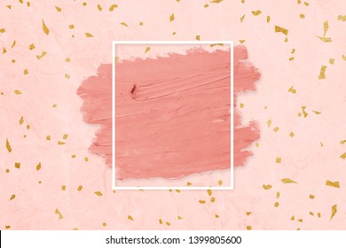 Matte orange paint with a white rectangle frame on a pastel pink background illustration