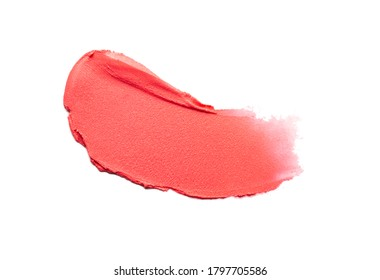 Matte red lipstick swatch isolated on white background