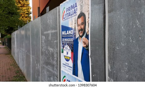 Matteo Salvini Electoral Election Poster for European Community General Election Day in Milan,Italy-May 2019