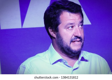 Matteo Salvini portraits, the leader of the Lega Nord party during an election campaign event. Turin, Italy - April, 2019