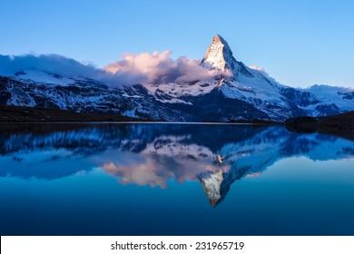 Matterhorn in early morning with reflection in StelliSee, Zermatt, Switzerland
