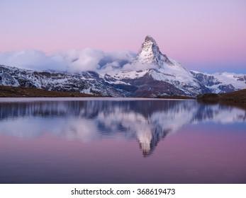 Matterhorn in early morning with relfection in StelliSee, Zermatt, Switzerland