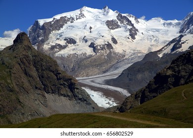 Matterhorn Glacier Trail - Impressive Alpine scenery with the Gorner glacier from the Shwarzsee mountain station area, Switzerland