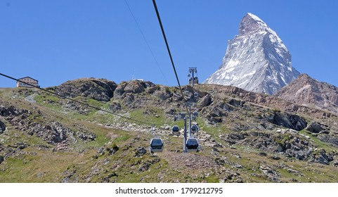 The Matterhorn, the iconic emblem of the Swiss Alps, cablecar, summertime