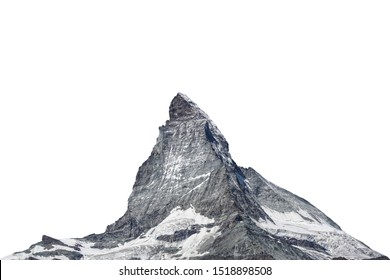 The Matterhorn ( Italian: Cervino, French: Cervin) is a mountain of the Alps located in the border between Switzerland and Italy. Isolated on white background