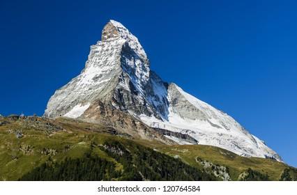 Matterhorn (Monte Cervino) is one of the highest summits from Europe. Zermatt, Switzerland.