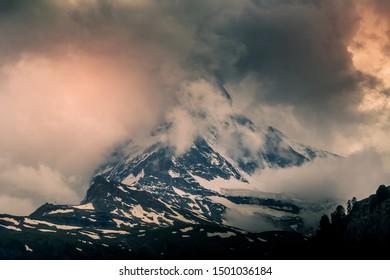 The Matterhorn mountain of the Alps covered with clouds, Zermatt Switzerland