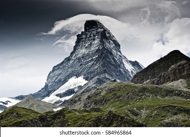 Matterhorn mountain - Dramatic weather over the Matterhorn, famous and  very exposed mountain in Swiss Alps