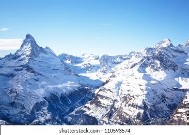 Matterhorn mountain peak in Zermatt Switzerland
