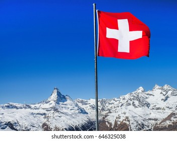 Matterhorn Mountain and Switzerland Flag