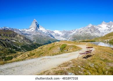 Matterhorn - Path in beautiful landscape of Zermatt, Switzerland