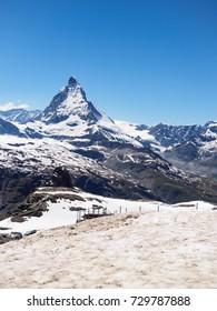 Matterhorn peak in sunny day view from gornergrat train station, Zermatt, Switzerland.