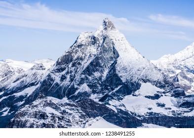 Matterhorn peak in Swiss Alps, snow